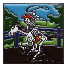 """6""""x6"""" Rodeo Time Day of the Dead Clay Tile"""