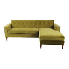 Perfect Eleanor Midcentury Modern Bi Sectional Velvet Sofa, Olive   Sectional Sofas