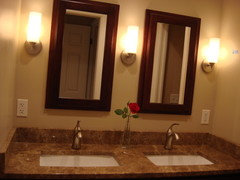 We Used 3 Sconces In Our 60 Double Vanity With 2 Recessed Lights Overhead These Mirrors Are Actually Medicine Cabinets That Match The Lower