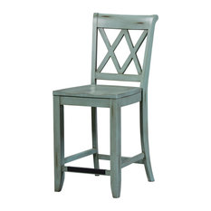Standard Furniture Vintage X-Back Counter Height Stool, Set of 2, Blue 11325