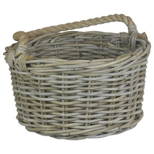 Rope Handled Grey Rattan Apple Basket, Small