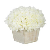 Artificial White Hydrangea in White-Washed Wood Cube