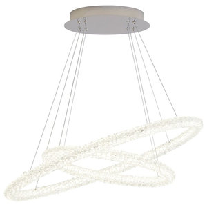 Circle LED 2 Oval Ring Ceiling Pendant, Chrome and Clear Crystal