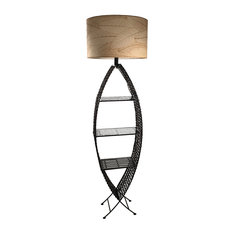 Eangee Home Design Indoor/Outdoor Cocoa Leaves Fish Shelf Lamp XL Natural Lamp