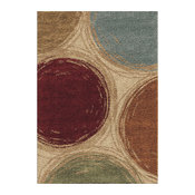 "Orian Impressions Shag Sketching Circles Area Rug, Beige, 7'10""x10'10"""