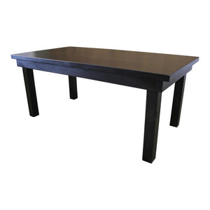 """Hardwood Farm Table With Jointed Top, Deep Grey Finish, 132""""x42""""x30"""""""
