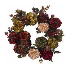 """22"""" Autumn Hydrangea Peony Wreath"""
