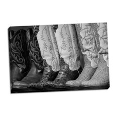 Fine Art Photograph, Cowboy Boots BW II, Hand-Stretched Canvas