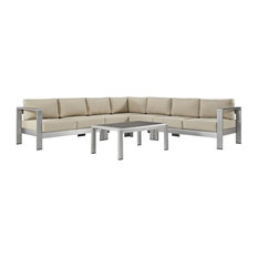 6-Piece Outdoor Sectional Sofa Set, Beige and Silver