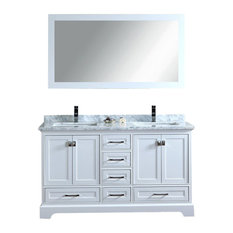 Stufurhome   Stufurhome Newport White 60 Inch Double Sink Bathroom Vanity  With Mirror   Bathroom Vanities