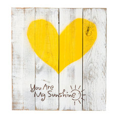 "Del Hutson Designs - Reclaimed Wood Heart, ""You Are My Sunshine"", 24""x22"" - Wall Accents"