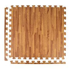 "24""x24"" Wood Grain and Cork Interlocking Foam Floor Tiles, Set of 25, Dark Wood"