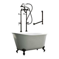 "58"" Swedish Bathtub & Complete Freestanding Faucet Plumbing Package- ORB"