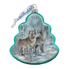 Hand Painted Glass Scenic Ornament, Wolves Tree