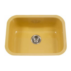 "Houzer PCS-2500 Porcela 22-3/4"" Single Basin Undermount Porcelain - Lemon"