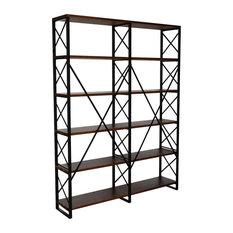 Industrial Bookcase, 6 Open Composite Wood Shelves, Double Design