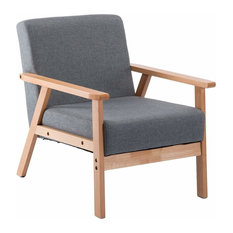 Contemporary Armchair, Solid Wood Frame and Grey Linen Fabric Upholstery