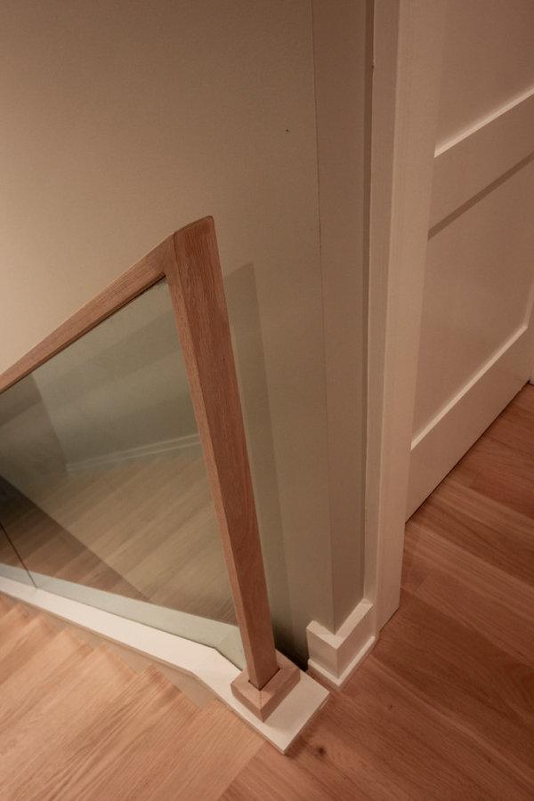 Contemporary Oak Staircase with Frame-less Glass Balustrade, Arlington, VA 22201