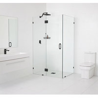 "Frameless 90 Degree Shower Enclosure, Hinge Style, Matte Black 78""x34""x34"""
