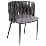 """Statements by J - Milano Dining Chair, Gray - Textured weaved fabric on the base and weaved leather on the seat creates this dining chair with sleek design. Seat height 18""""."""