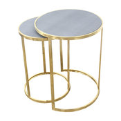 Charles Nesting Tables, Faux Shagreen With Gold Metal, 2 Piece Set