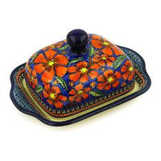 "Polmedia Polish Pottery 8"" Stoneware Butter Dish"
