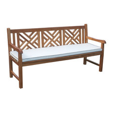 chic teak cushion for triple chippendale bench outdoor benches - Outdoor Benches