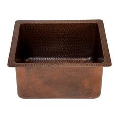 "16"" Gourmet Rectangular Hammered Copper Bar/Prep Sink, Oil Rubbed Bronze"