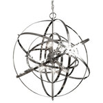 Gallery Lighting - Foucault's Orb Chandelier Chrome - This beautiful Chandelier will light up a room with vintage style. Item must be hardwired. Professional installation is recommended. Requires (6) 40 watt bulbs - not included