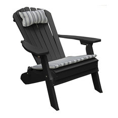 Outdoor Poly Lumber Folding and Reclining Adirondack Chair, Black