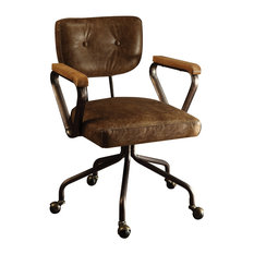 Acme Furniture Hallie Top Grain Leather Office Chair Vintage Whiskey Chairs