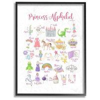 "Watercolor Princess Alphabet Castle Dragon and Crown Framed Art, 11""x14 i"