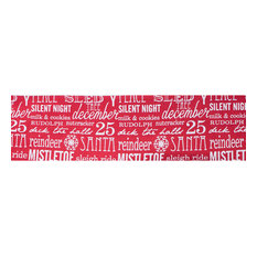"""4""""x10 yd. Red White HolidayWord Dupion Wired Ribbon"""