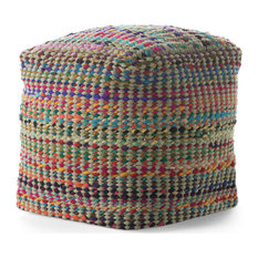 GDF Studio Naholo Handcrafted Boho Fabric Pouf, Sage and Multi-Color