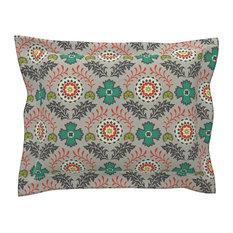 Brocade Vintage Green Floral Cotton Pillow Sham, Euro