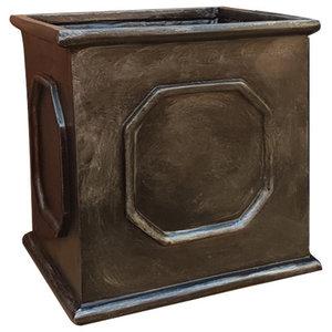Faux Lead Cube Fibreglass Planter, 60x60x60 cm