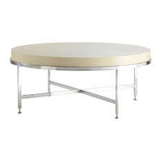Galleria Round Cocktail Table White On Ash Top