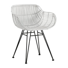 Scoop White Woven Wicker Dining Chair