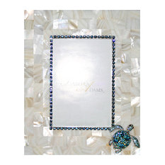 """Picture Frame, 4""""x6"""", Mother of Pearl, Aquamarine Crystal"""