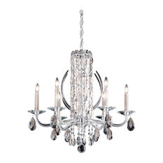 Sarella 6-Light Chandelier in Antique Silver With Crystal Heritage Crystal