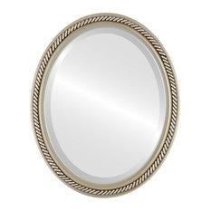 "Santa Fe Framed Oval Mirror in Silver, 32""x42"""