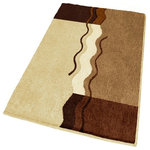 Large Brown Bath Rug - This modern large brown bathroom rug is machine washable and non-slip / non-skid. Made from soft polyacrylic yarn which is warm, absorbent and dries quickly. High quality densely woven .98in pile. Our brown bath mat is durable, mold and mildew resistant. Unique sculpted pile with color tones including toffee, dark mahogany, light beige and butter cream.