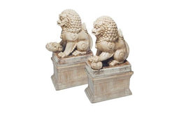 Pair of White Crackle Glazed Lions by Mecox Gardens