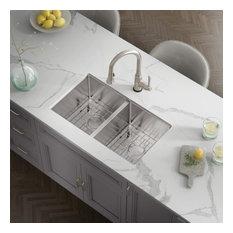 """33""""X18""""X10"""" KH3318R15 Double Bowl Undermount Kitchen Sink With Strainer"""
