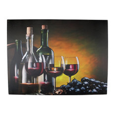 Battery Operated 6 LED Wine Barrel Candle Scene Canvas Wall Hanging, 15.75""