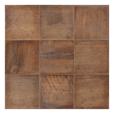 """8""""x8"""" Rose Wood Field Tiles, Natural Finish, Set of 24"""
