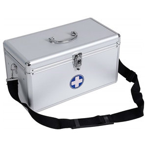Portable First Aid Box, Aluminium With 2-Layer and 3-Compartment, Modern