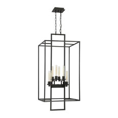 Cubic 8-Light Foyer, Aged Bronze Brushed