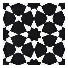 """8""""x8"""" Medina Handmade Cement Tile, Black/White, Set of 12"""