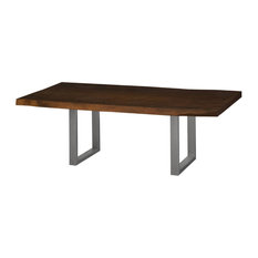 84-inchL Dining Table Live Edge Natural Acacia Wood Brushed Stainless Steel